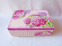 Krabičky - Drevená šperkovnica Hortenzie - 11387255_