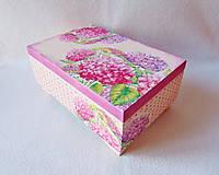 Krabičky - Drevená šperkovnica Hortenzie - 11387268_