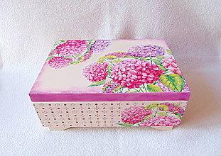 Krabičky - Drevená šperkovnica Hortenzie - 11387250_