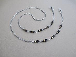 Iné šperky - Retiazka na okuliare - zlato/čierna - chirurgická oceľ - 11387557_