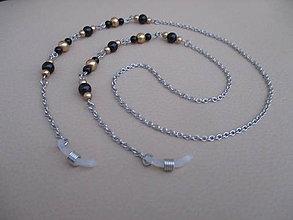 Iné šperky - Retiazka na okuliare - čierno/zlaté perly - chirurgická oceľ - 11387623_
