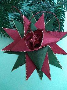 Dekorácie - Vianočná hviezda zo saténových stúh s lemom - 11386184_