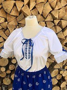 Košele - Folklórna (ľudová) blúzka Katka -v modrom - 11388160_