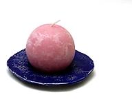Svietidlá a sviečky - tanierik svietnik modrý - 11386438_