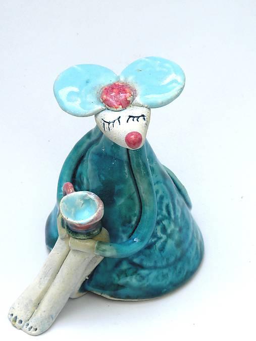 Figúrka myš tyrkysová