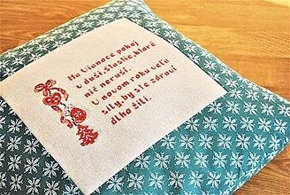 Úžitkový textil - Vianočný vankúš (obliečka) - zelený s prianím - 11387978_