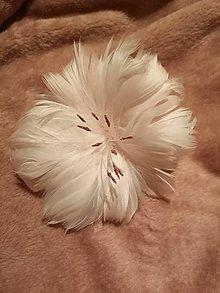 Dekorácie - Pierkový kvet (Biela) - 11387788_