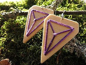 Náušnice - WoBo drevené náušnice fialové - 11388186_