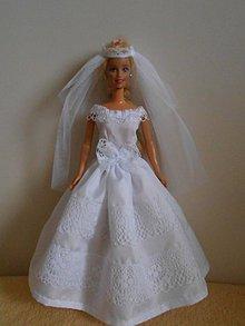 Hračky - Svadobné šaty so závojom pre barbie - 11387866_