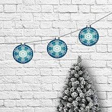 Tabuľky - Girlanda vianočné gule azurové - 11388061_