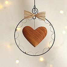 Dekorácie - vianočná dekorácia (drevené srdiečko) - 11388786_