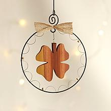 Dekorácie - vianočná dekorácia (drevený štvorlístok) - 11388790_