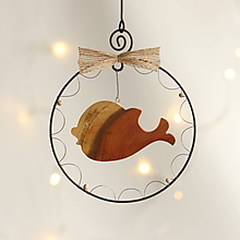 Dekorácie - vianočná dekorácia (drevená rybka) - 11388801_