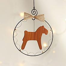Dekorácie - vianočná dekorácia (drevený koník) - 11388817_
