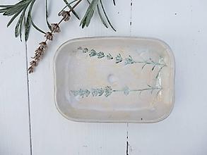 Nádoby - Keramická mydelnička perleťová levanduľová - 11390323_