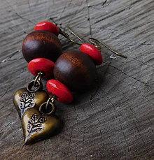 Náušnice - drevené guľky - 11389677_
