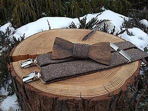 Doplnky - Pánsky drevený motýlik a traky - 11388875_