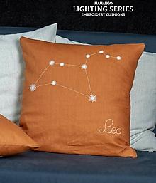Úžitkový textil - Obliečka na vankúš - Znamenie LEV (40x40cm - Modrá) - 11390350_