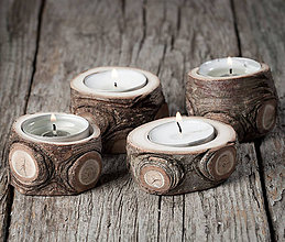 Svietidlá a sviečky - Okatý drevený svietnik prírodný - veľkosť 1 - najmenší - 11390184_