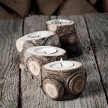 Svietidlá a sviečky - Okatý drevený svietnik prírodný - veľkosť 4 - najväčší - 11390242_