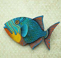 Odznaky/Brošne - Parrotfish - kožená brož s malbou - 11388918_