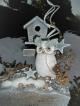 Dekorácie - Zimná dekorácia so sovičkou - 11393999_