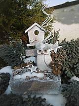 Dekorácie - Zimná dekorácia so sovičkou - 11394007_