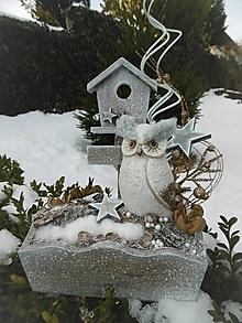 Dekorácie - Zimná dekorácia so sovičkou - 11394000_