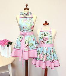 Iné oblečenie - set záster pre mamu a dcéru Roses on tyrkys - 11390934_