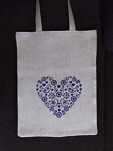 Nákupné tašky - Taška z pravého domáceho plátna s ornamentom - 11393924_