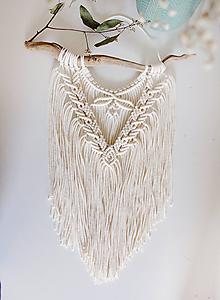 """Dekorácie - menšie makramé """"ľahkosť"""" (natural biela) - 11393607_"""