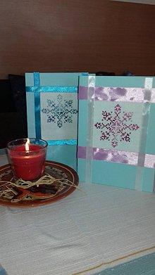 Drobnosti - vyšívané vianočné pohľadnice - veľké vločky (Modrá) - 11391852_