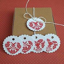 Papiernictvo - Visačky srdce červené folk - 11391154_