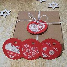 Papiernictvo - Visačky vianočné srdiečka červené - 11391173_