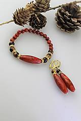 Sady šperkov - koral a tigrie oko náramok a náušnice - 11393027_