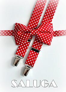 Doplnky - Pánsky motýlik a traky - červený bodkovaný - retro - 11391615_