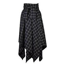 Sukne - NESSA - cípová károvaná zavinovacia sukňa s viazačkou (D4 - čiernobiele káro) - 11394119_
