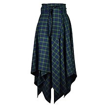 Sukne - NESSA - cípová károvaná zavinovacia sukňa s viazačkou (C3 - modrozelené káro menšie) - 11394129_