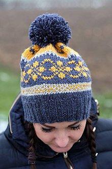 Čiapky - Modrá čiapka so vzorom - 11394110_