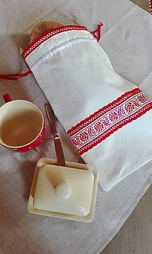 Úžitkový textil - Ľanové vrecko na veľký chlieb červenou cifrované 44 x 27 cm - 11393149_