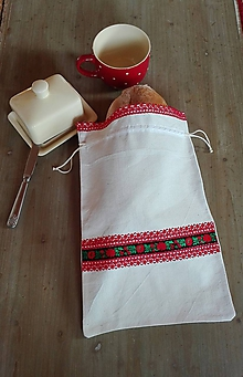 Úžitkový textil - Ľanové vrecko na veľký chlieb červenou a čiernou cifrované 42 x 27,5 cm - 11393161_