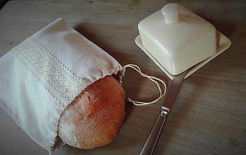 Úžitkový textil - Ľanové vrecko na menší chlieb krémovou cifrované - 11393205_