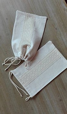 Úžitkový textil - Ľanové vrecko na bylinky, desiatu... krémovou cifrované - 11393258_