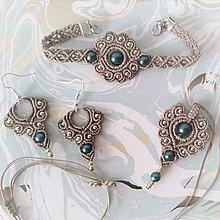 Sady šperkov - Béžový set (náramok, náušnice, prívesok) - 11393419_