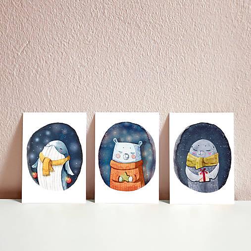 Set vianočných pohľadníc- vianočný tuleň, veľryba a medvedík