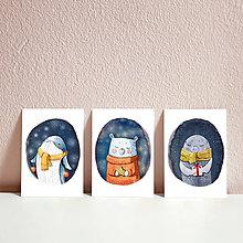 Papiernictvo - Set vianočných pohľadníc- vianočný tuleň, veľryba a medvedík - 11394414_