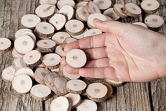 Materiál ručne robený - Drevené plátky okrúhle - tuja (priemer 3 cm (2,6 - 3 cm)) - 11391402_