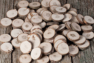 Materiál ručne robený - Drevené plátky okrúhle - tuja (priemer 3,1 - 3,5 cm) - 11391410_