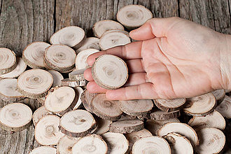 Materiál ručne robený - Drevené plátky okrúhle - tuja (priemer 3,6 - 4 cm) - 11391417_
