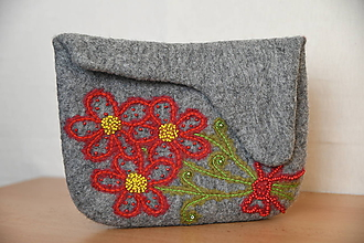 Kabelky - plstená kabelka - kytička - 11393087_
